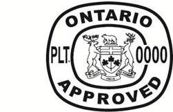 Illustration of two inspection legends with ONTARIO APPROVED and either PLT. 000 or PLT. 0000 broken up by an Ontario coat of arms.