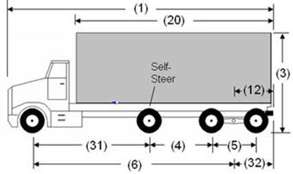 Illustration of Designated Truck 5, a 4-axle truck, as described below.