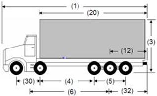 Illustration of Designated Truck 7, a 5-axle truck, as described below.
