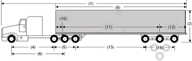 Illustration of Designated Tractor-Trailer Combination 8 with tractor attached to a semi-trailer as described below.