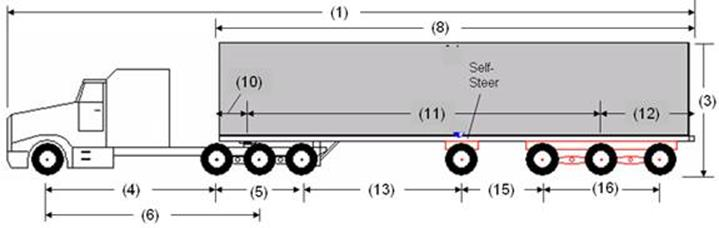 Illustration of Designated Tractor-Trailer Combination 10 with tractor attached to a semi-trailer as described below.