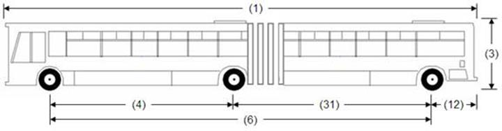 Illustration of Designated Bus or Recreational Vehicle 3, an articulated bus, as described below.