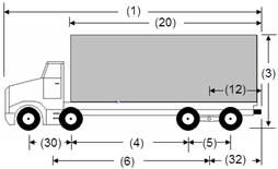 Illustration of Designated Truck 4, a 4-axle truck, as described below.