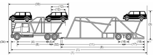 Illustration of Designated Tractor-Trailer Combination 14 with tractor attached to semi-trailer as described below.