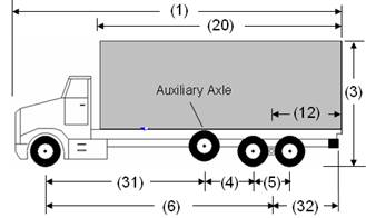 Illustration of Designated Truck 3, a 4-axle truck, as described below.