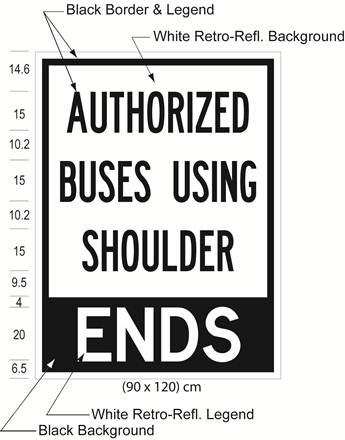 Illustration of Figure 5 - a ground-mounted sign with text AUTHORIZED BUSES USING SHOULDER - ENDS.
