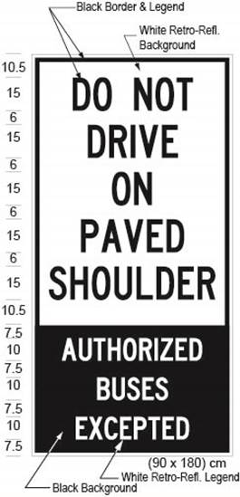Illustration of Figure 1 - a ground-mounted sign with text DO NOT DRIVE ON PAVED SHOULDER - AUTHORIZED BUSES EXCEPTED.