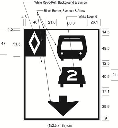 Illustration of Figure D - overhead sign with HOV diamond symbol, bus, car with number 2 inside it, and down arrow.