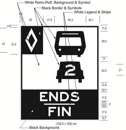 Illustration of Figure H - ground mounted sign with HOV diamond symbol, bus, car with 2 inside it, and text ENDS/FIN.