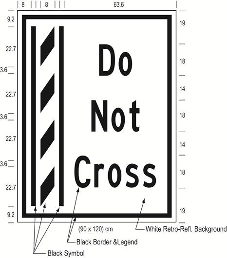 Illustration of Figure K - ground mounted sign of a buffer zone and to its right the text Do Not Cross.