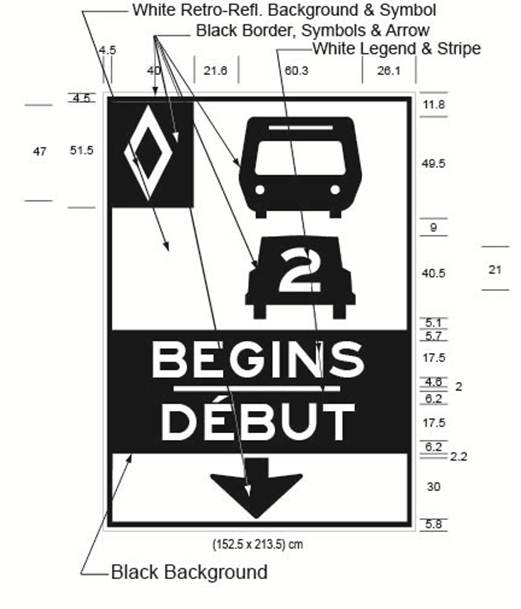 Illustration of Figure C - overhead sign with HOV diamond symbol, bus, car with 2 inside it, text BEGINS/DÉBUT and down arrow.