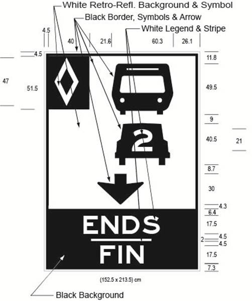 Illustration of Figure G - overhead sign with HOV diamond symbol, bus, car with 2 inside it, down arrow and text ENDS/FIN.