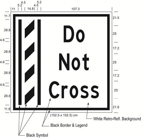 Illustration of Figure I - overhead sign of a buffer zone and to its right the text Do Not Cross.