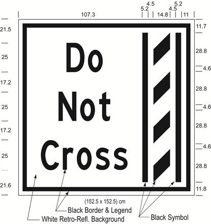 Illustration of Figure J - overhead sign of a buffer zone and to its left the text Do Not Cross.