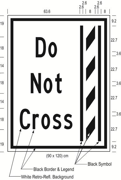 Illustration of Figure L - ground mounted sign of a buffer zone and to its left the text Do Not Cross.