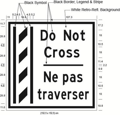 Illustration of Figure M - overhead sign of a buffer zone and to its right the text Do Not Cross/Ne pas traverser.