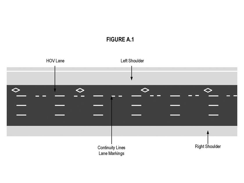Illustration of Figure A.1 - HOV lane with diamond markings, entry or exit continuity lines, and shoulders.