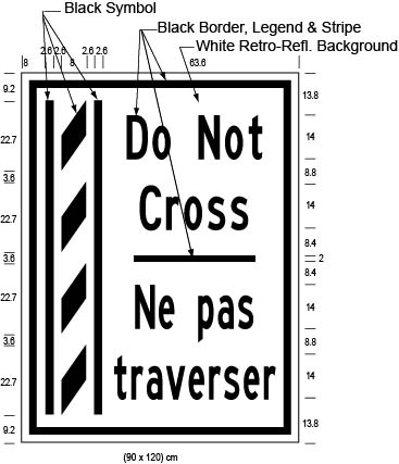 Illustration of Figure O - ground-mounted sign of a buffer zone and to its right the text Do Not Cross/Ne pas traverser.