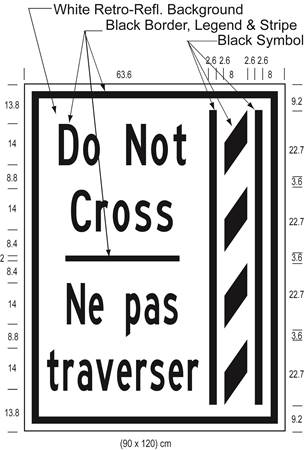 Illustration of Figure P - ground-mounted sign of a buffer zone and to its left the text Do Not Cross/Ne pas traverser.