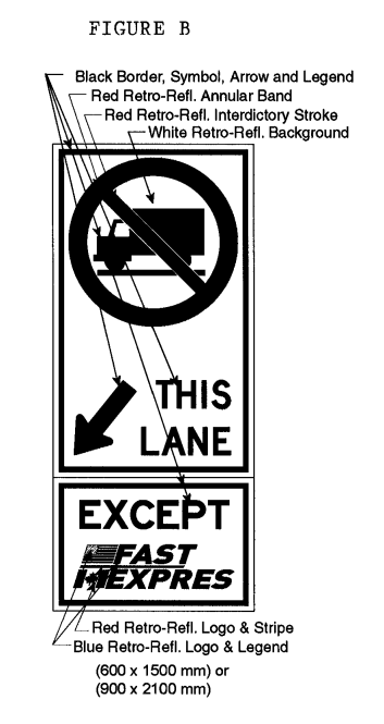 Illustration of Figure B - sign with a No Trucks symbol, downward left arrow with text THIS LANE and EXCEPT FAST/EXPRES.