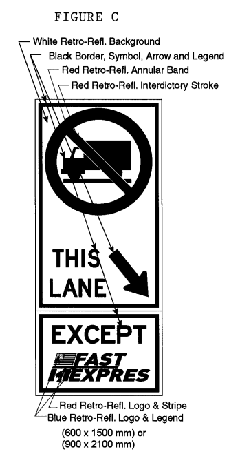 Illustration of Figure C - sign with a No Trucks symbol, downward right arrow with text THIS LANE and EXCEPT FAST/EXPRES.