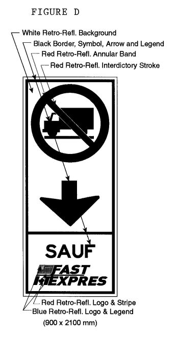 Illustration of Figure D - overhead border approach lane sign of a No Trucks symbol, down arrow and text SAUF FAST/EXPRES.
