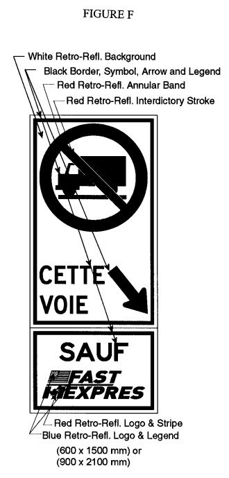 Illustration of Figure F - sign with a No Trucks symbol, downward right arrow with text CETTE VOIE and SAUF FAST/EXPRES.