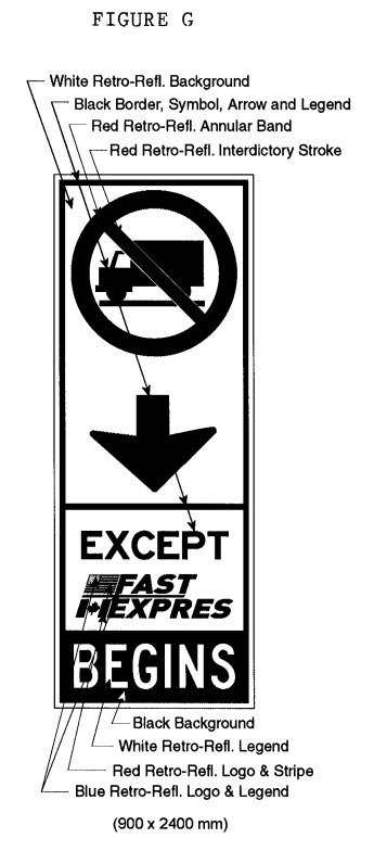 Illustration of Figure G - sign with a No Trucks symbol, down arrow, text EXCEPT FAST/EXPRES, and text BEGINS.