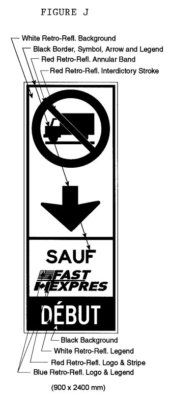 Illustration of Figure J -an overhead sign with a No Trucks symbol, down arrow, text SAUF FAST/EXPRES, and text DÉBUT.