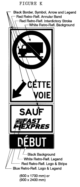 Illustration of Figure K - sign with a No Trucks symbol, arrow with text CETTE VOIE, SAUF FAST/EXPRES, and DÉBUT.