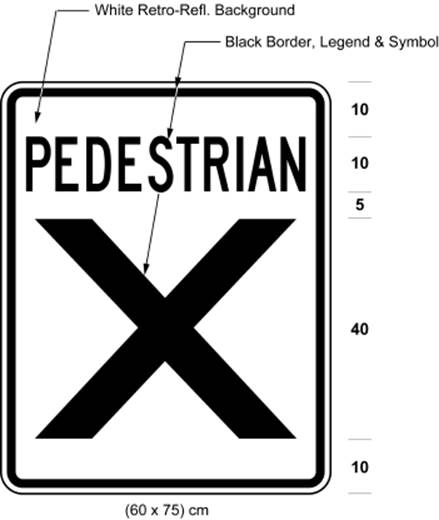Illustration of pedestrian crossover sign 60 cm wide and 75 cm high with text PEDESTRIAN above large X on white retro-reflective background