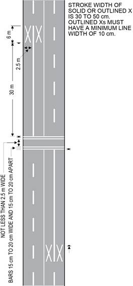 Diagram of a mid-block pedestrian crossover on a four-lane roadway showing road markings