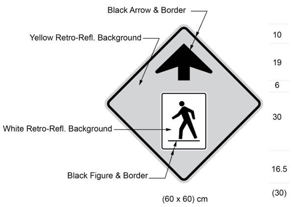 Illustration of sign with yellow background and up arrow over a black symbol of person crossing the road from right to left