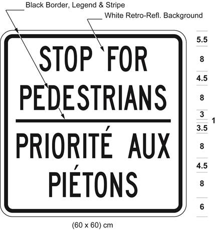 Illustration of sign 60 cm wide and 60 cm high with black text STOP FOR PEDESTRIANS / PRIORITÉ AUX PIÉTONS on white retro-reflective background