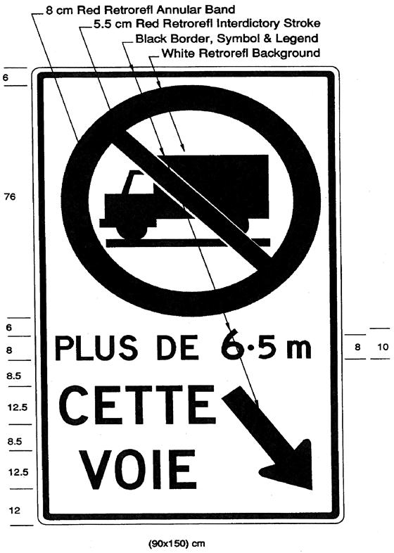 Illustration of a sign with Trucks Prohibited symbol and text PLUS DE 6.5 m, CETTE VOIE with downward right arrow.