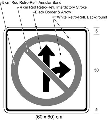Illustration of sign with a no right turn or proceeding straight symbol.