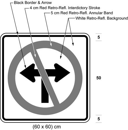 Illustration of sign with a no left or right turn symbol.