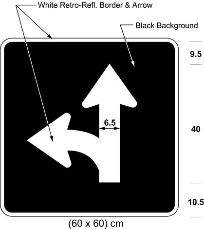 Illustration of sign with branching white arrow curving left and proceeding straight on black background.