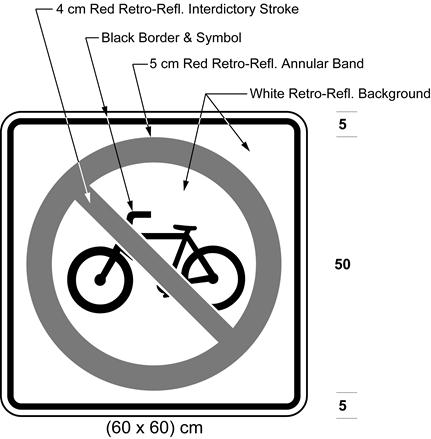Illustration of sign with bicycle symbol inside red interdictory symbol on white background.
