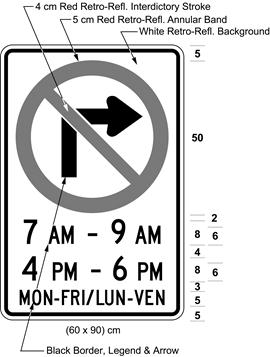 Illustration of sign with a no right turn symbol, text