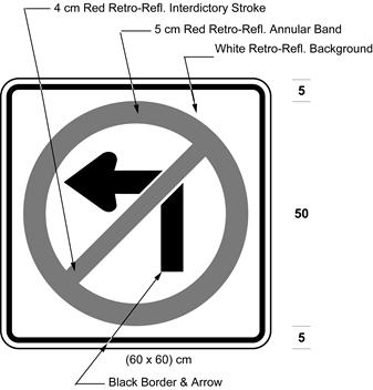 Illustration of sign with a no left turn symbol.