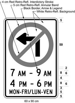Illustration of sign with a no left turn symbol, text