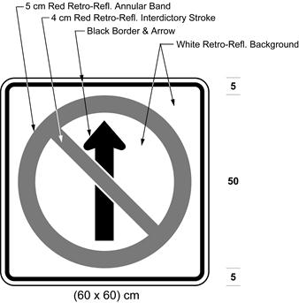 Illustration of sign with a no proceeding straight symbol.