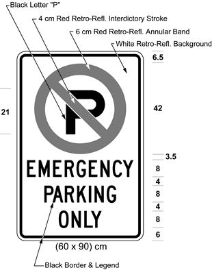 Illustration of sign with a no parking symbol above text