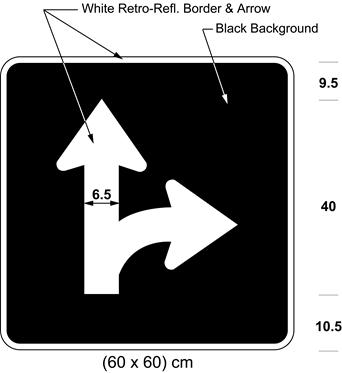 Illustration of sign with branching white arrow curving right and proceeding straight on black background.