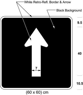 Illustration of sign with white arrow proceeding straight on black background.