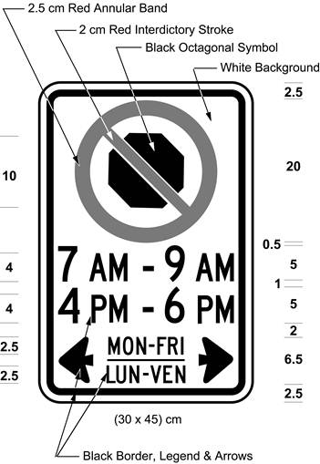 Illustration of sign with a no stopping symbol and text 7 AM - 9 AM, 4 PM - 6 PM, MON-FRI / LUN-VEN with arrows.