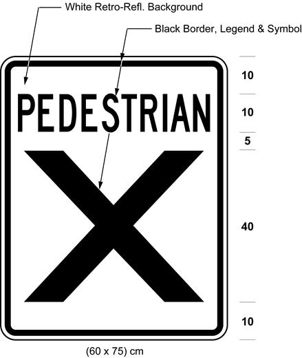 Illustration of sign with text PEDESTRIAN above large X.