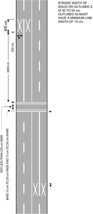Diagram of pavement markings for pedestrian crossover not at intersection.