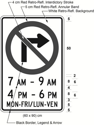 Illustration of sign with a no right turn symbol, text 7 AM - 9 AM, 4 PM - 6 PM, MON-FRI / LUN-VEN.